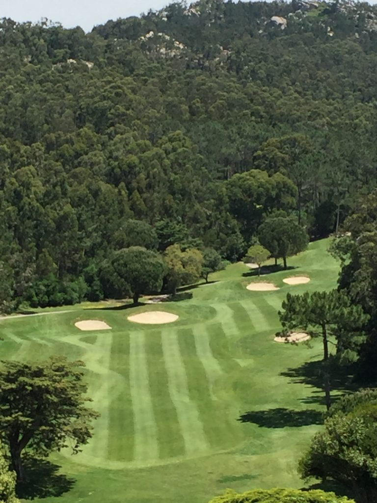 As you can see, the 16th at Penha Longa plays from a very elevated tee; as you can't see, the green is almost as elevated